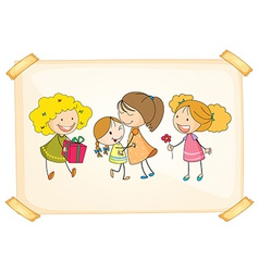 A frame with happy kids vector image