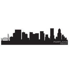 portland oregon skyline detailed silhouette vector image