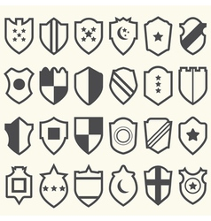 Set of shield icons with symbols vector image