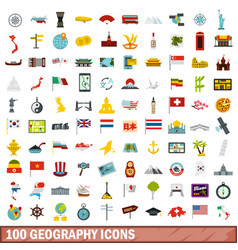 100 geography icons set flat style vector