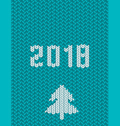 2018 new year knitted template green background vector image