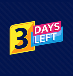3 days left countdown banner vector
