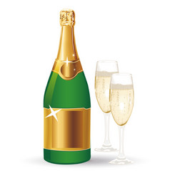 A bottle of champagne with two glasses vector