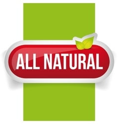 All Natural button with leaves vector image