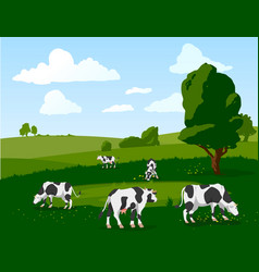 Banner with herd of spotted cows grazing vector