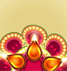 Beautiful diwali diya background vector