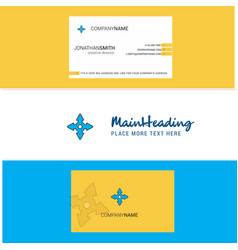 beautiful four way arrow logo and business card vector image