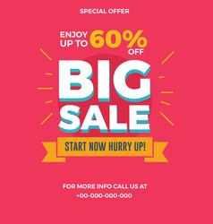 big sale flyer for social media banners poster vector image