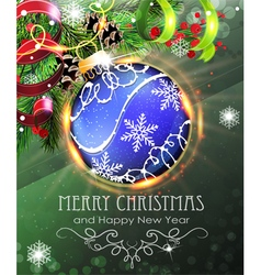 Blue Christmas bauble with fir branches and tinsel vector image