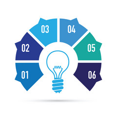 Blue light bulb idea vector