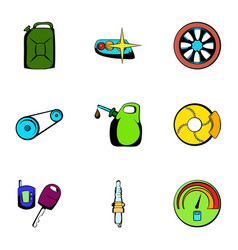 car repairing icons set cartoon style vector image