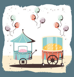 carnival cotton candy and pop corn shop vector image