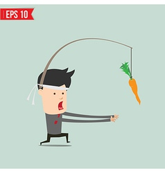 Cartoon Business man trying to reach a carrot vector