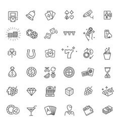 casino related icon set well-crafted sign vector image