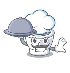 Chef with food mortar mascot cartoon style vector
