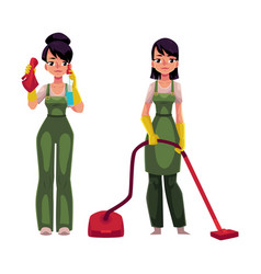 Cleaning service girls in overalls with vacuum vector