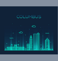 columbus skyline ohio usa linear style city vector image