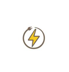 creative bolt plug circle logo design symbol vector image