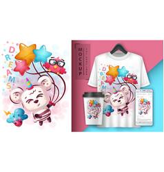 cute bear unicorn - mockup for your idea vector image