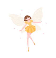 cute funny fairy or flying elf in elegant dress vector image