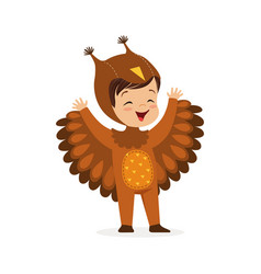 cute happy little boy dressed as an owl kids vector image