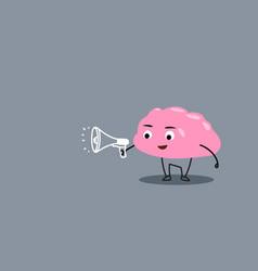Cute human brain organ holding megaphone vector