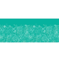 Emerald green floral lineart horizontal seamless vector image