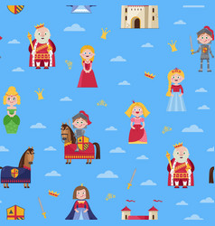 Fairytale seamless pattern in cartoon style vector