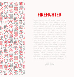Firefighter concept with thin line icons vector