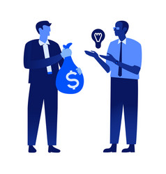 Flat office man holding money bag bulb vector