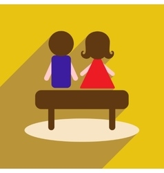 Flat web icon with long shadow man woman bench vector
