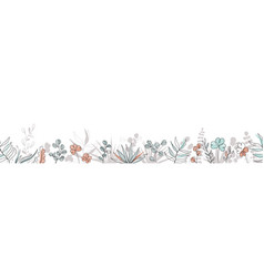 floral seamless border in trendy continuous line vector image