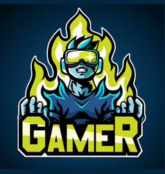 Gamer mascot logo sticker design vector
