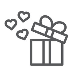gift line icon love and package gift box with vector image