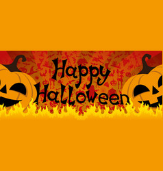 halloween pumpkins and fire vector image