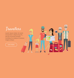 happy family trip traveling banner vector image