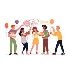 Happy people celebrate anniversary with birthday vector