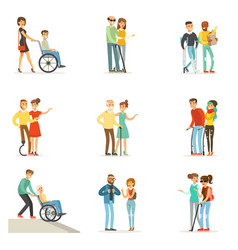 Help and care for disabled people set for label vector