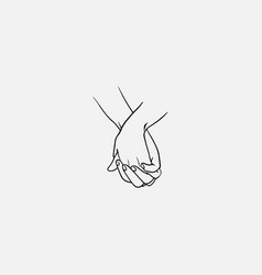 holding hands with interlocked or intertwined vector image