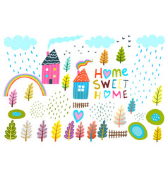 home lettering house landscape graphic collection vector image
