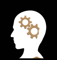human head with sand gears inside alzheimers vector image