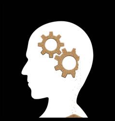 Human head with sand gears inside alzheimers vector