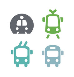 Icons sign simple public transport metro bus vector