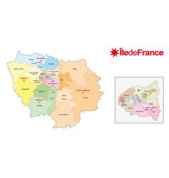 Ile de france region administrative map france vector