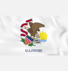 Illinois waving flag illinois state flag vector