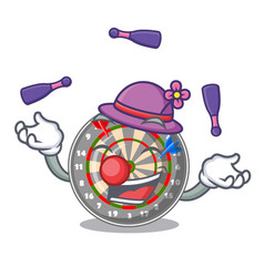 juggling cartoon dartcoard next to wooden table vector image