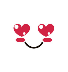 Kawaii cute face expression eyes and mouth love vector