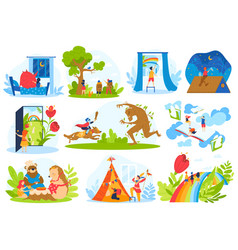 Kids fairy tale imagination vector