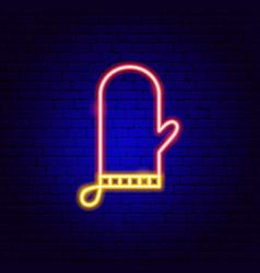 kitchen glove neon sign vector image