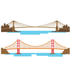 long and large bridge across the river vector image